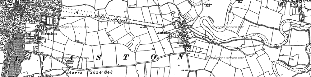 Old map of Ambaston in 1881