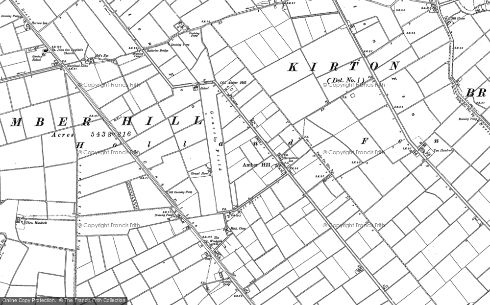Old Map of Historic Map covering Algarkirk Fen in 1887