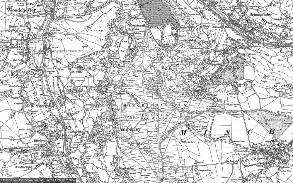 Old Map of Historic Map covering Whitfield's Tump (Long Barrow) in 1882