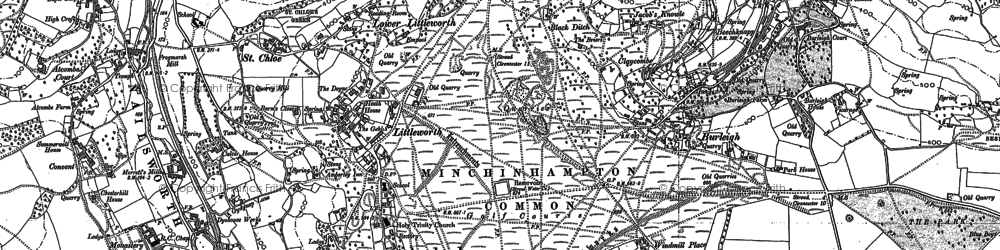 Old map of Whitfield's Tump (Long Barrow) in 1882