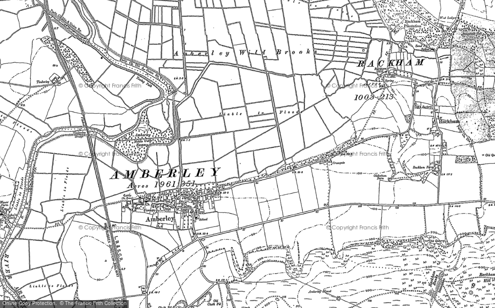 Old Map of Historic Map covering Amberley Mount in 1896