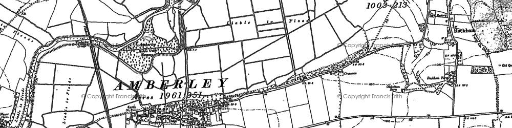 Old map of Amberley Wild Brooks in 1896