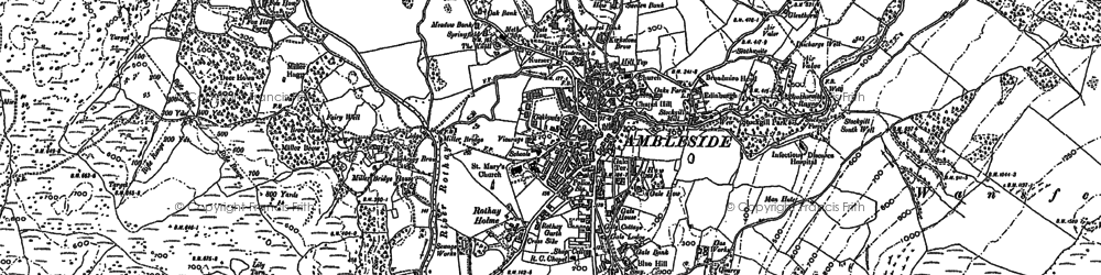 Old map of Ambleside in 1912