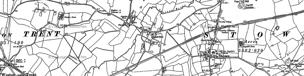 Old map of Amerton in 1881