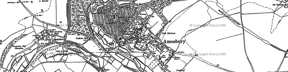 Old map of Amesbury in 1889