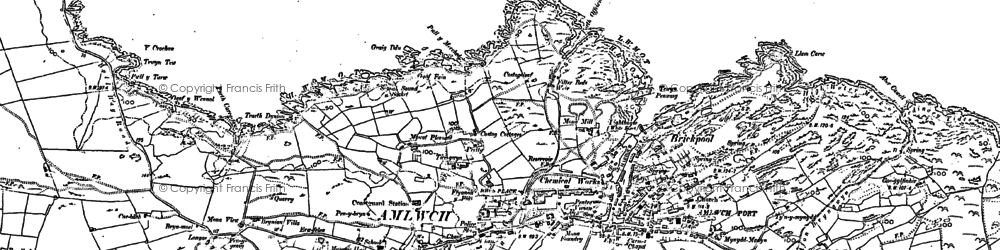 Old map of Amlwch in 1887
