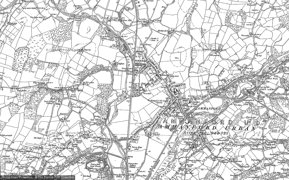 Old Map of Ammanford, 1877 - 1905 in 1877
