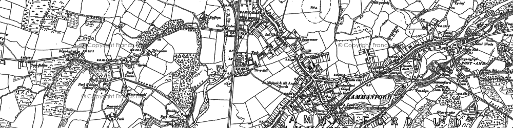 Old map of Ammanford in 1877