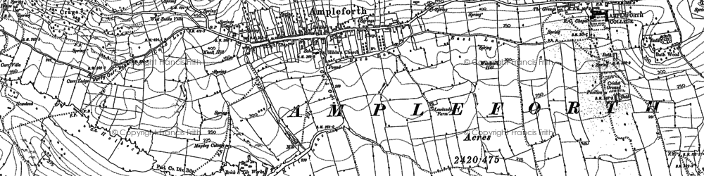 Old map of Ampleforth in 1889