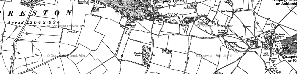 Old map of Ampney Crucis in 1875
