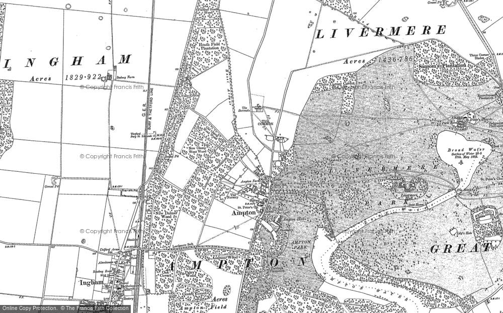 Old Map of Historic Map covering Ash Covert in 1882