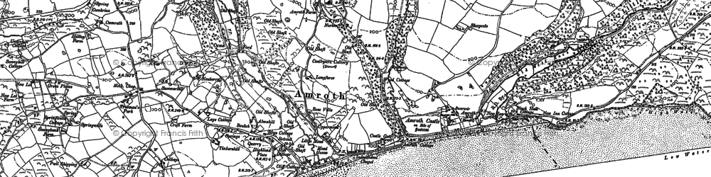 Old map of Amroth in 1905
