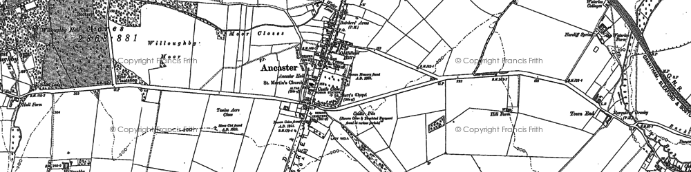 Old map of Ancaster in 1887