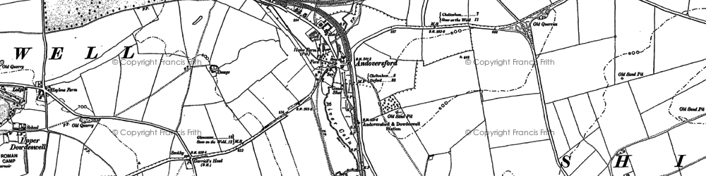 Old map of Andoversford in 1883