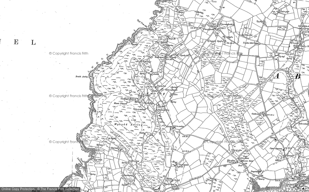 Old Map of Historic Map covering Afon Saint in 1899