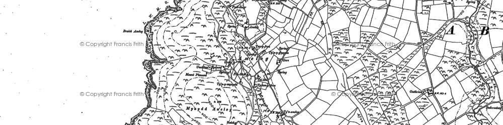 Old map of Afon Saint in 1899