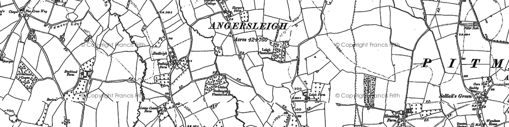 Old map of Angersleigh in 1903