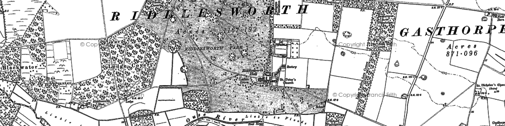 Old map of Angles Way in 1883