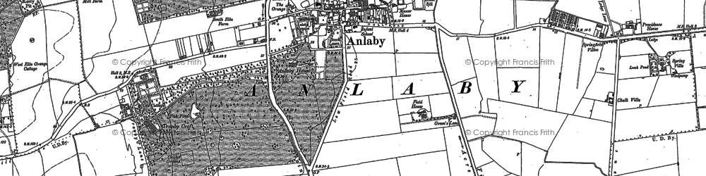 Old map of Anlaby in 1888