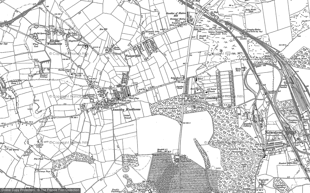 Old Map of Annesley, 1898 - 1899 in 1898