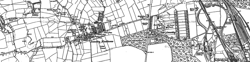 Old map of Annesley in 1898
