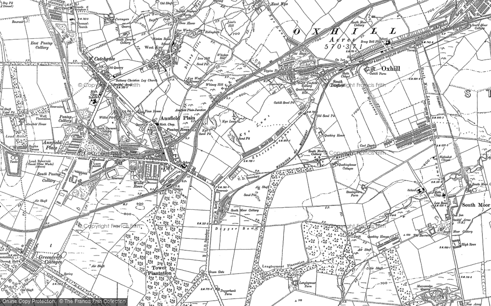 Old Map of Annfield Plain, 1895 - 1916 in 1895