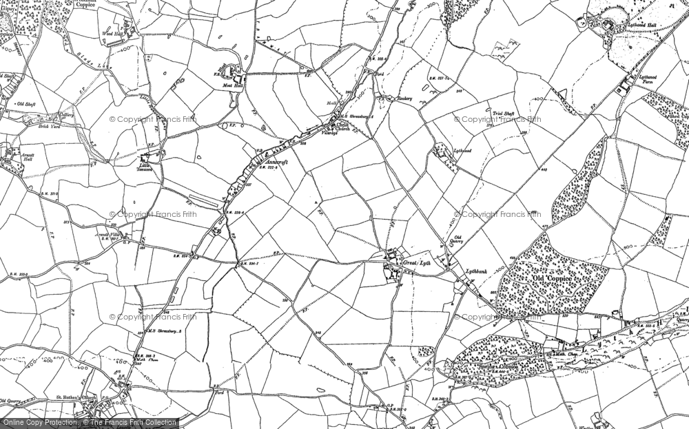 Old Map of Historic Map covering Arscott Villa in 1881
