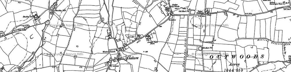 Old map of Anslow in 1882