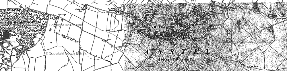 Old map of Anstey in 1883