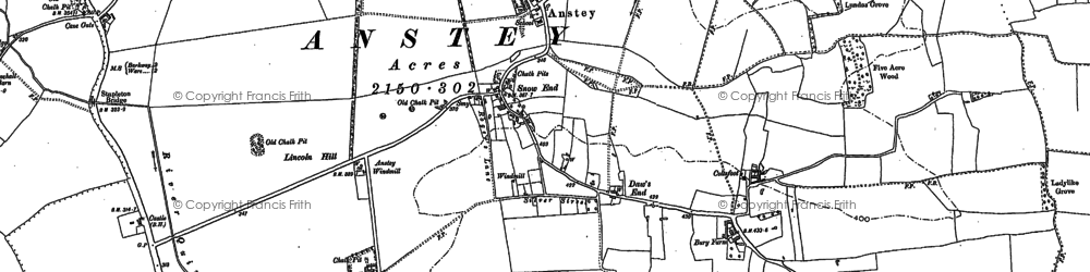 Old map of Anstey in 1896