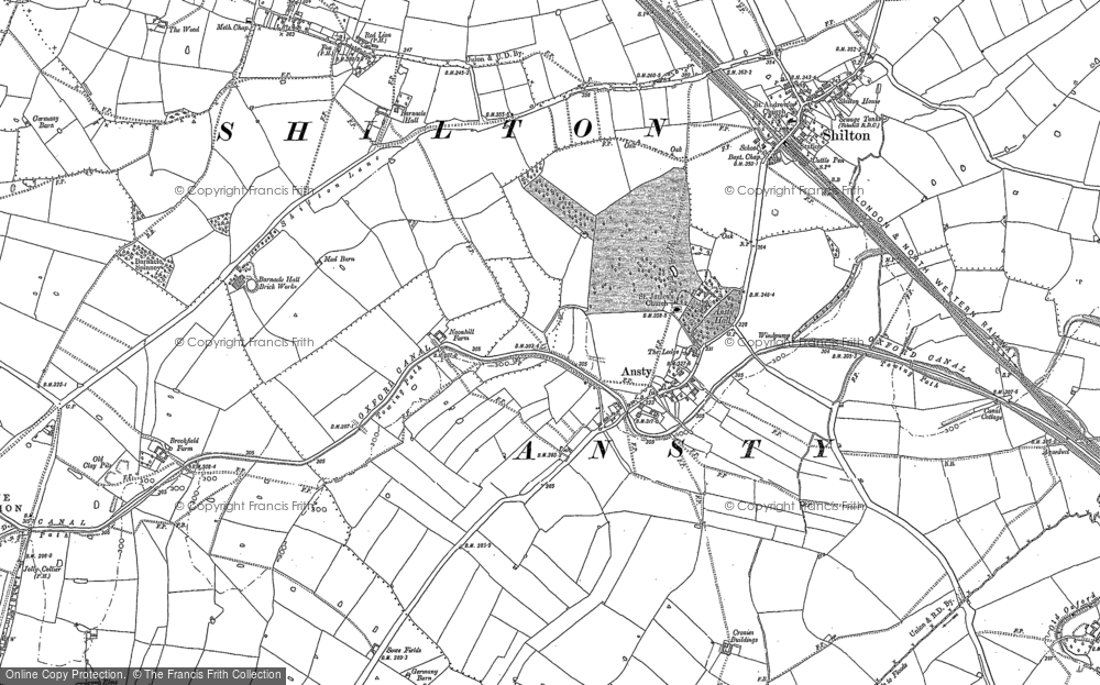 Old Map of Ansty, 1886 in 1886