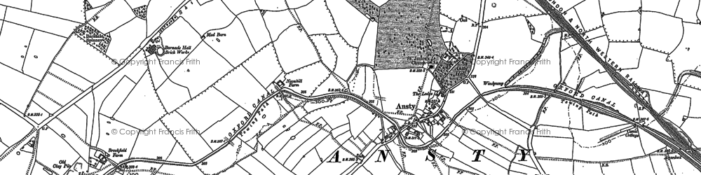 Old map of Ansty in 1886