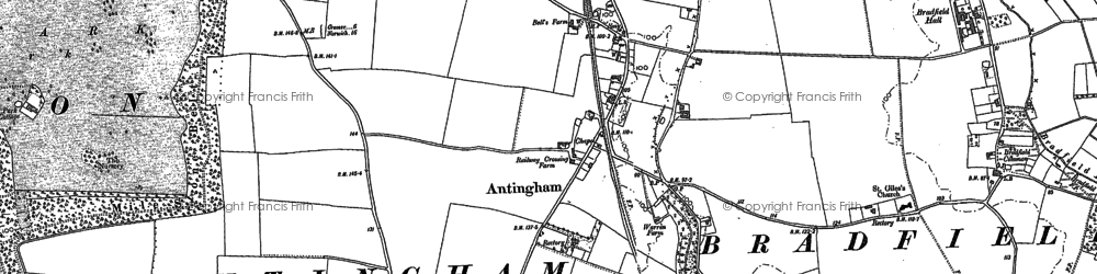 Old map of Antingham Hall in 1884
