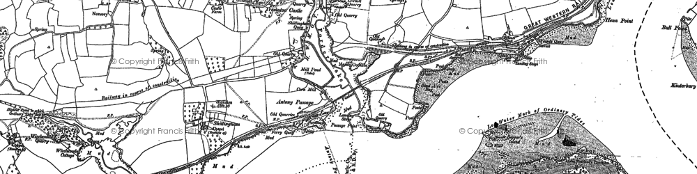 Old map of Antony Passage in 1883