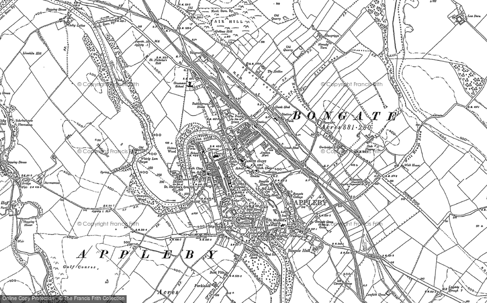 Old Map of Historic Map covering Bandley Wood in 1897