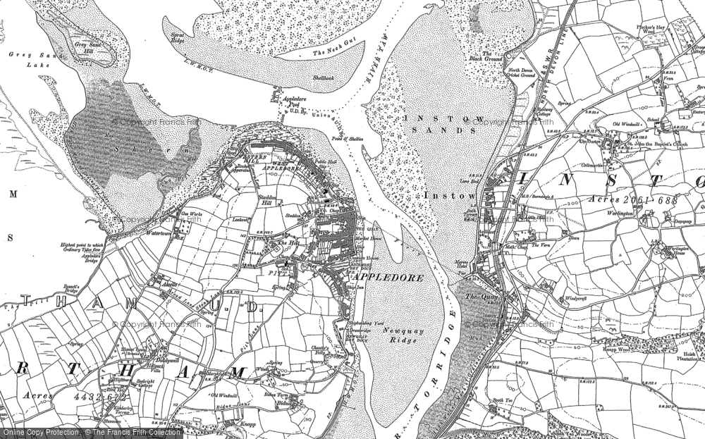 Old Map of Appledore, 1887 - 1903 in 1887