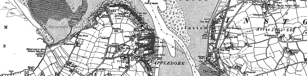 Old map of Appledore in 1887