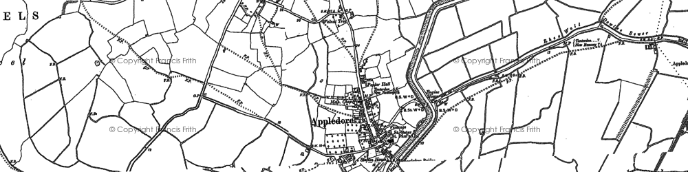 Old map of Appledore in 1896