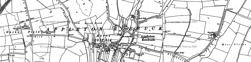 Old map of Appleton Roebuck in 1890