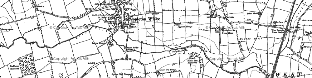 Old map of Appleton Wiske in 1893