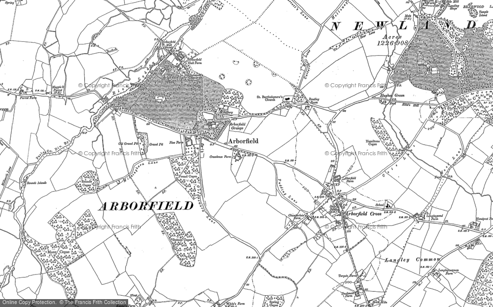 Old Map of Historic Map covering Langley Common in 1909