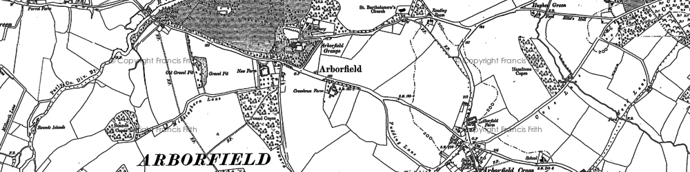 Old map of Langley Common in 1909