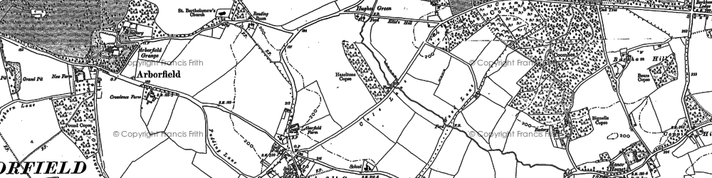 Old map of Arborfield Cross in 1898