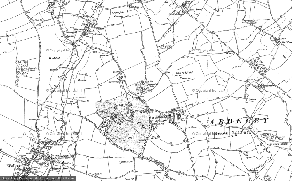 Old Map of Historic Map covering Leycroft in 1896