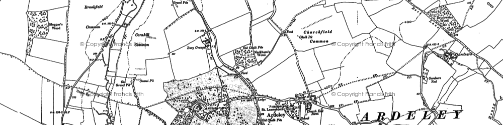 Old map of Ardeley in 1896