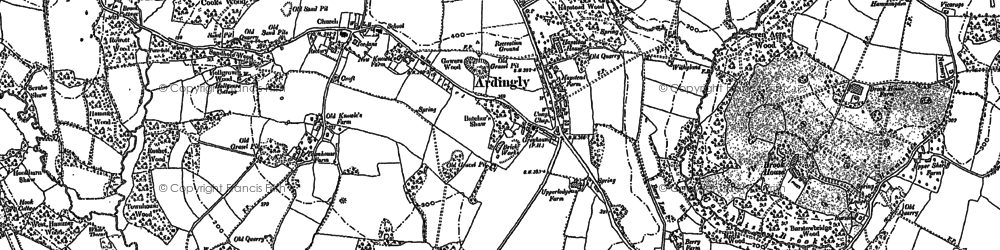Old map of Ardingly in 1896