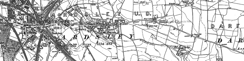 Old map of Ardsley in 1851