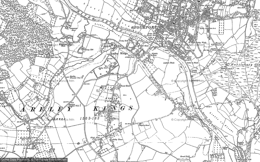 Old Map of Historic Map covering Astley Cross in 1883