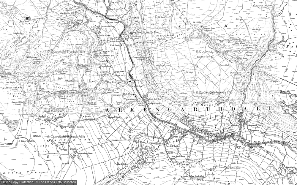 Old Map of Arkengarthdale, 1891 - 1892 in 1891