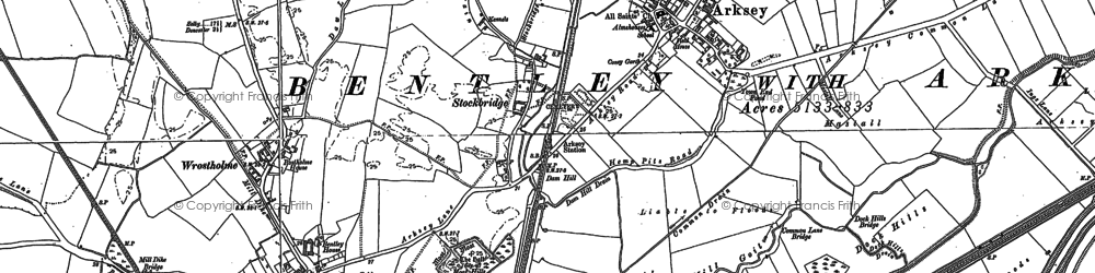 Old map of Arksey in 1890